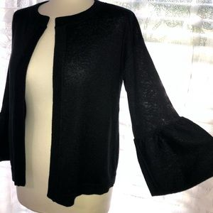 NWT LOFT BLACK CARDIGAN WITH BELL SLEEVES SZ S